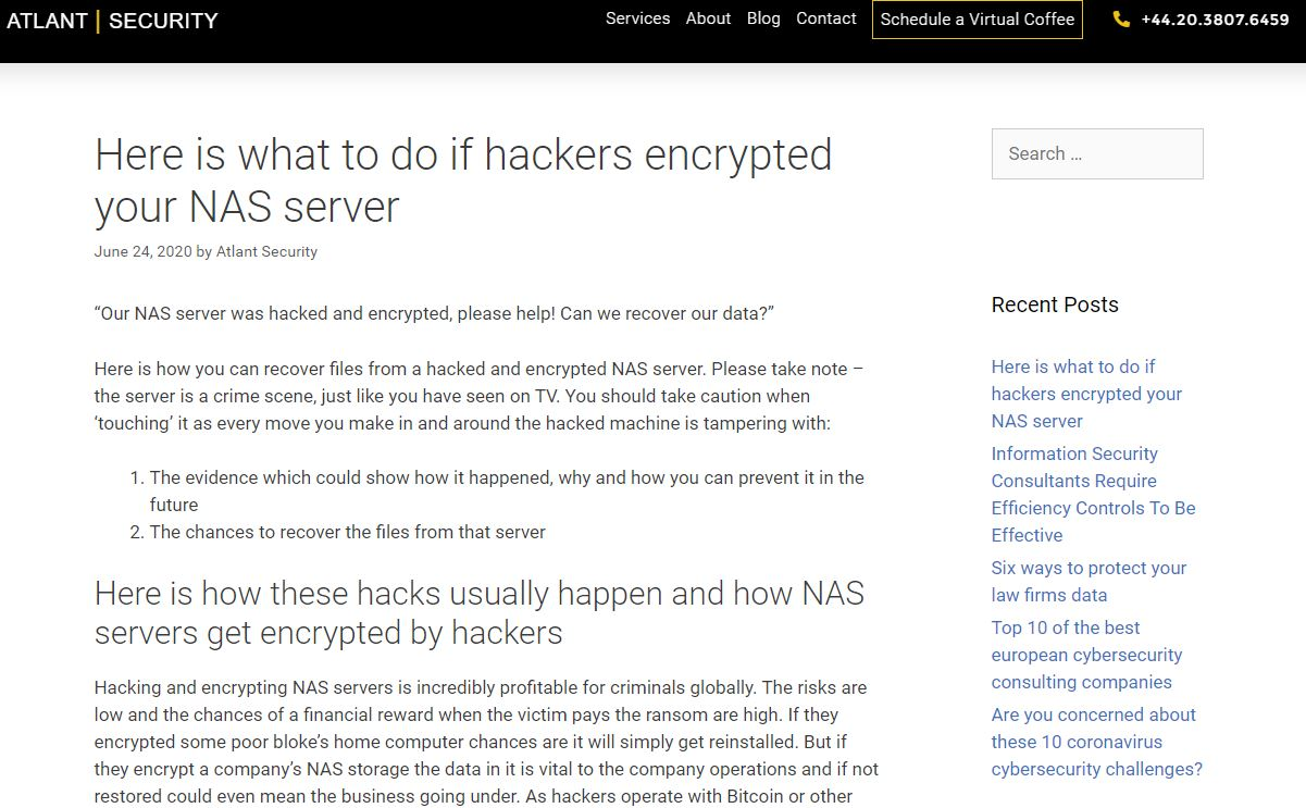 hackers encrypted NAS server
