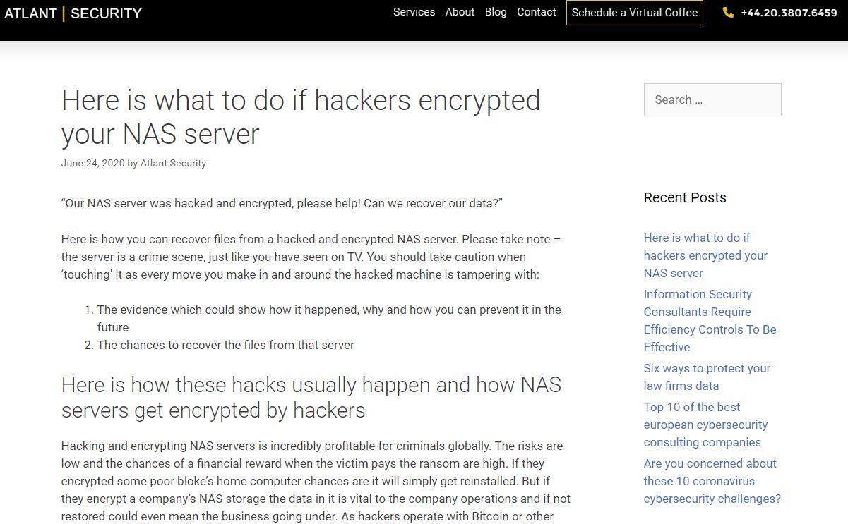 hackers encrypted NAS server